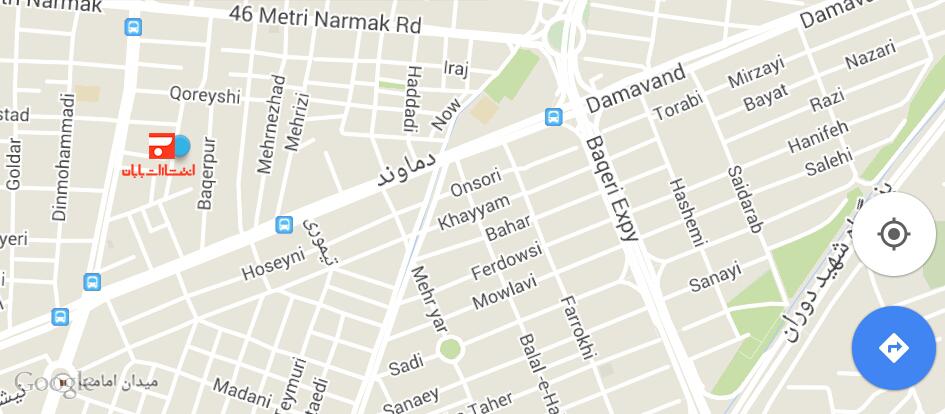 آدرس انتشارات بابان بر روی نقشه